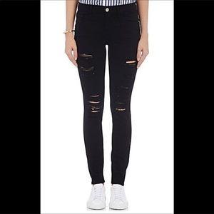 Frame skinny ripped black jeans,size 24